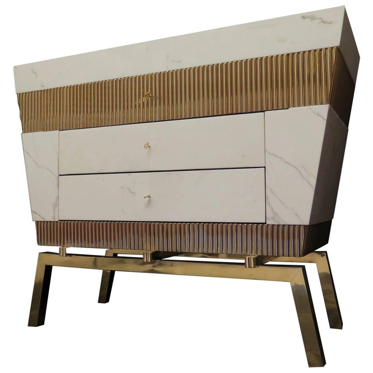 2016 Marble and Brass Italy Chest of Drawers