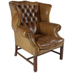 Leather Wingback Library Chair