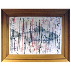 Fish with Colorful Grid, Drawing of Black Ink on Paper by Bizzy Setter