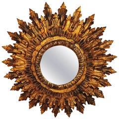 French Large Mid-Century Giltwood Sunburst Mirror