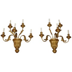Pair of Gilded Wood Sconces with Five Lights, circa 1810
