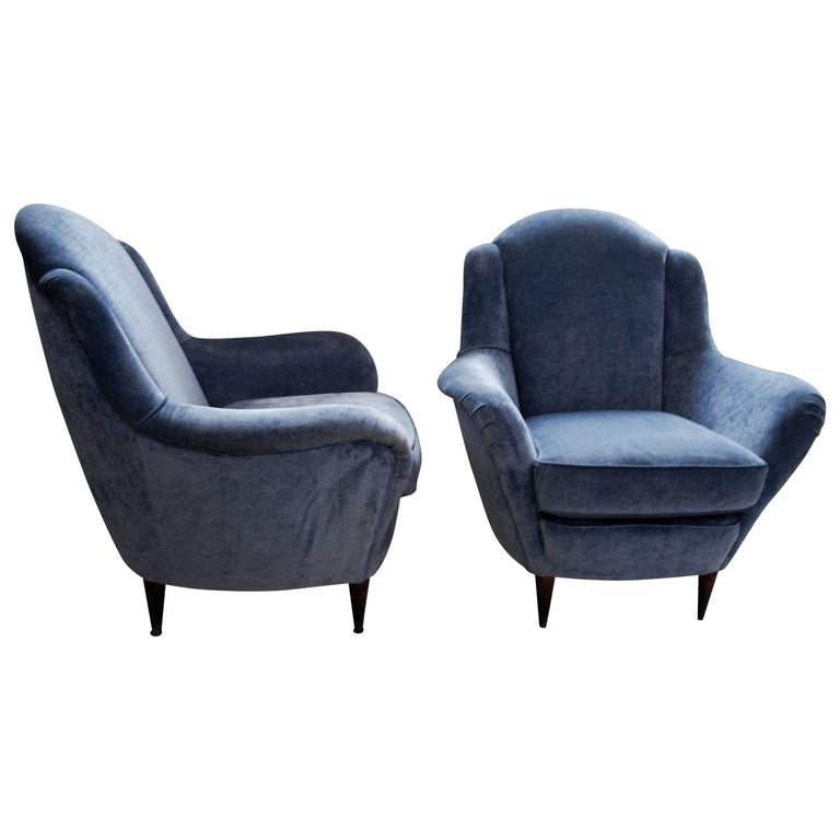 Two Armchairs, Blue Velvet, I.S.A. Bergamo Ico Parisi attr. 1950s, SALE MUST GO