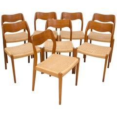 Set of Eight Danish Teak Dining Chairs Niels Moller #71