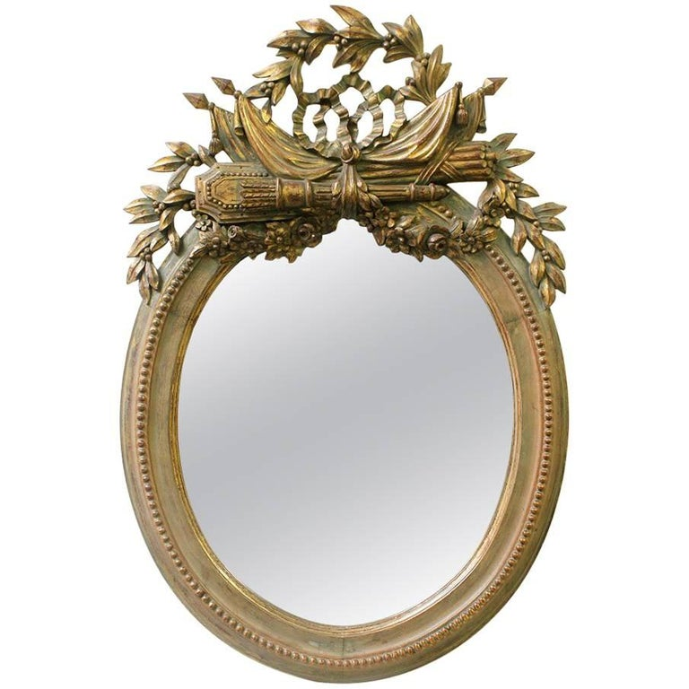 19th Century French Louis XVI Oval Giltwood Mirror