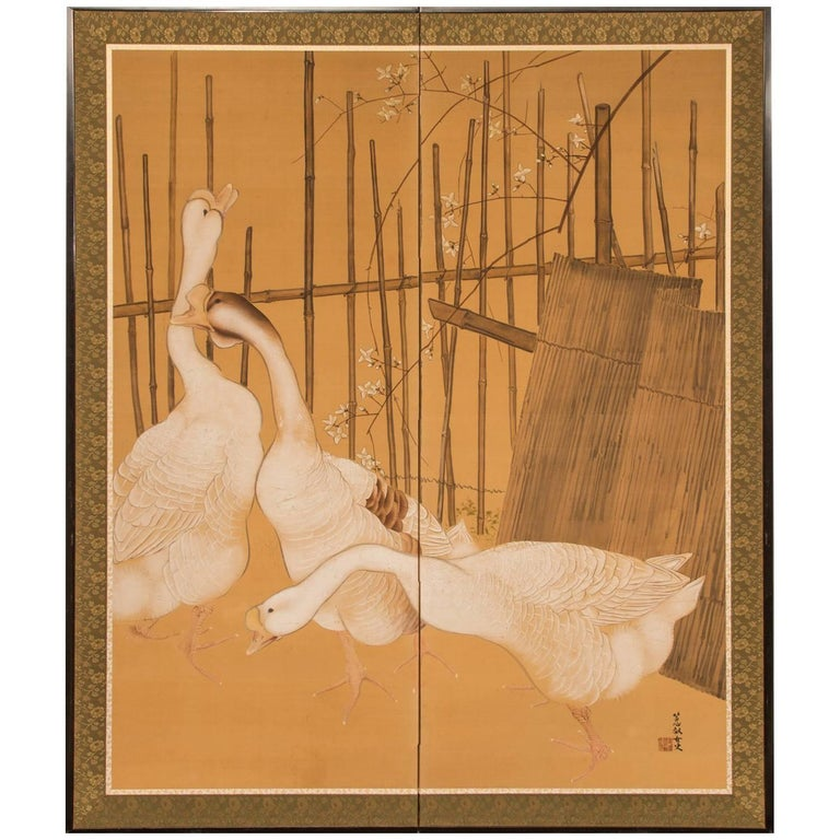 Japanese Two-Panel Screen: Farm Geese and Bamboo Fence
