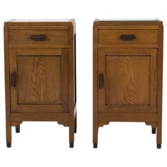 Pair of Oak Art Deco Amsterdam School Bedside Tables by Fa.Drilling, Amsterdam
