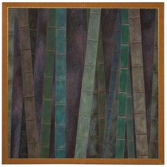 Japanese Two-Panel Screen, Abstract Bamboo Forest at Night