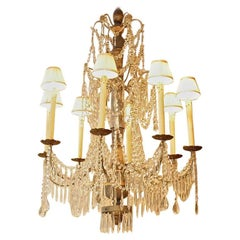 Paint Wood and Cut-Crystal Chandelier, Nice, circa 1900