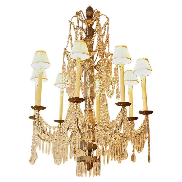 Paint Wood And Cut Crystal Chandelier, Nice, Circa 1900