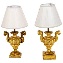 19th Century Pair of Italian Giltwood Lamps from Tuscany