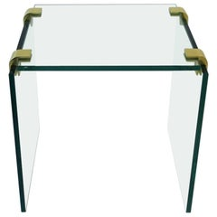 Modern Brass and Glass End or Side Table after Leon Rosen for Pace