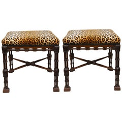 Near-Pair of Regency Style Mahogany Faux Bamboo Upholstered Benches
