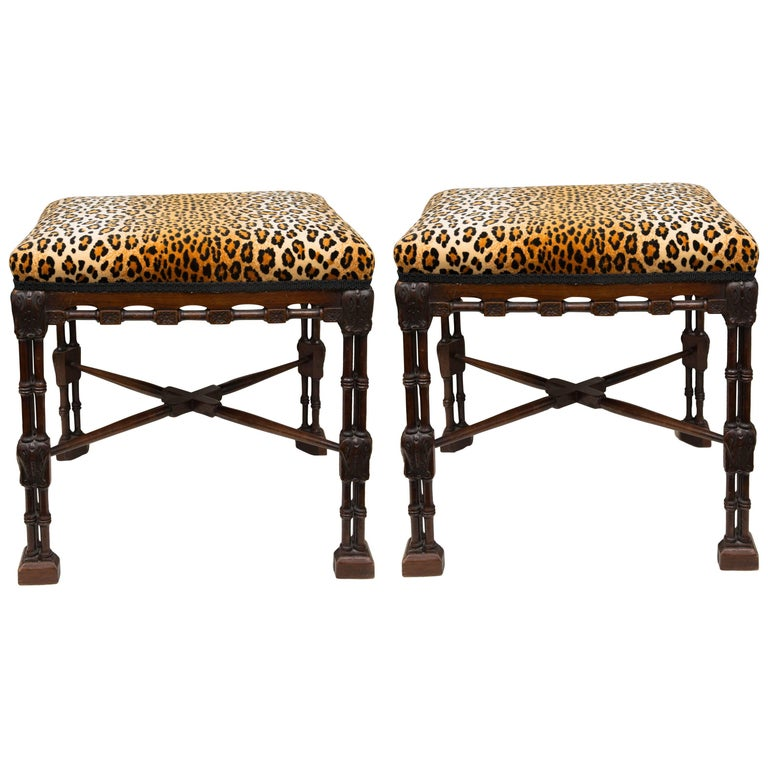 Pair of Regency Style Mahogany Faux Bamboo Upholstered Benches 1