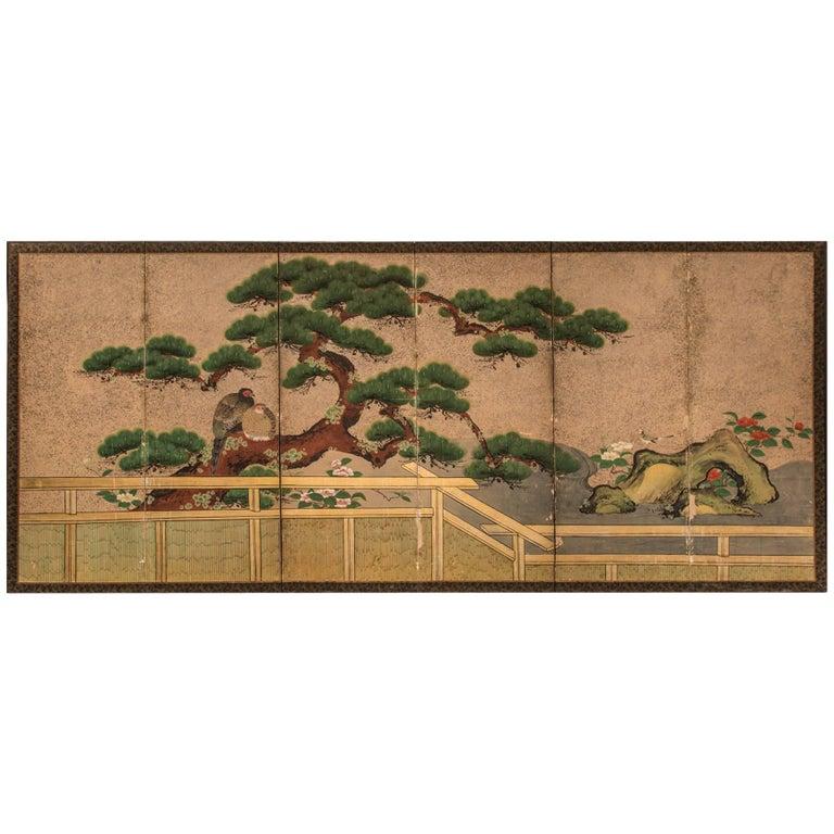 "Japanese Six Panel Screen, ""Amorous Pheasants in Venerable Garden Pine"" For Sale"
