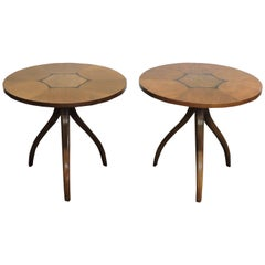 Mid-Century Modern Pair of Gueridon Tripod Inlaid Walnut End Tables by Drexel