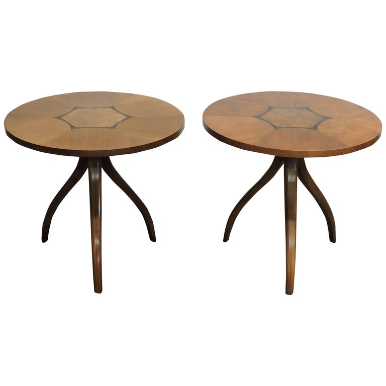 Mid-Century Modern Pair of Gueridon Tripod Inlaid Walnut End Tables by Drexel For Sale