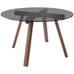 Ripley Dining Table, Solid Walnut and Smoked Glass