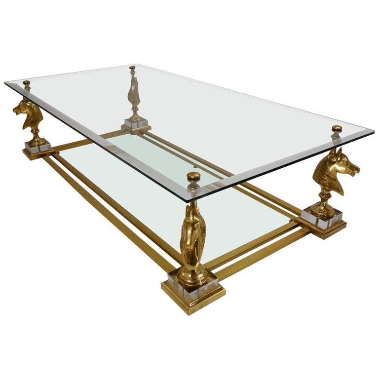 Maison Charles Cheval Coffee Table, Brass and Lucite, circa 1970s, French 1