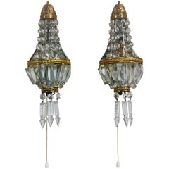 Pair of French Crystal and Brass Wall Sconces, circa 1930s
