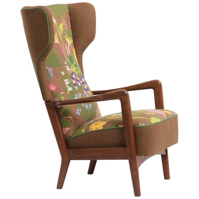 Fritz Hansen, Wingback Lounge Chair, Floral Upholstery, by Gocken Jobs, 1950s 1