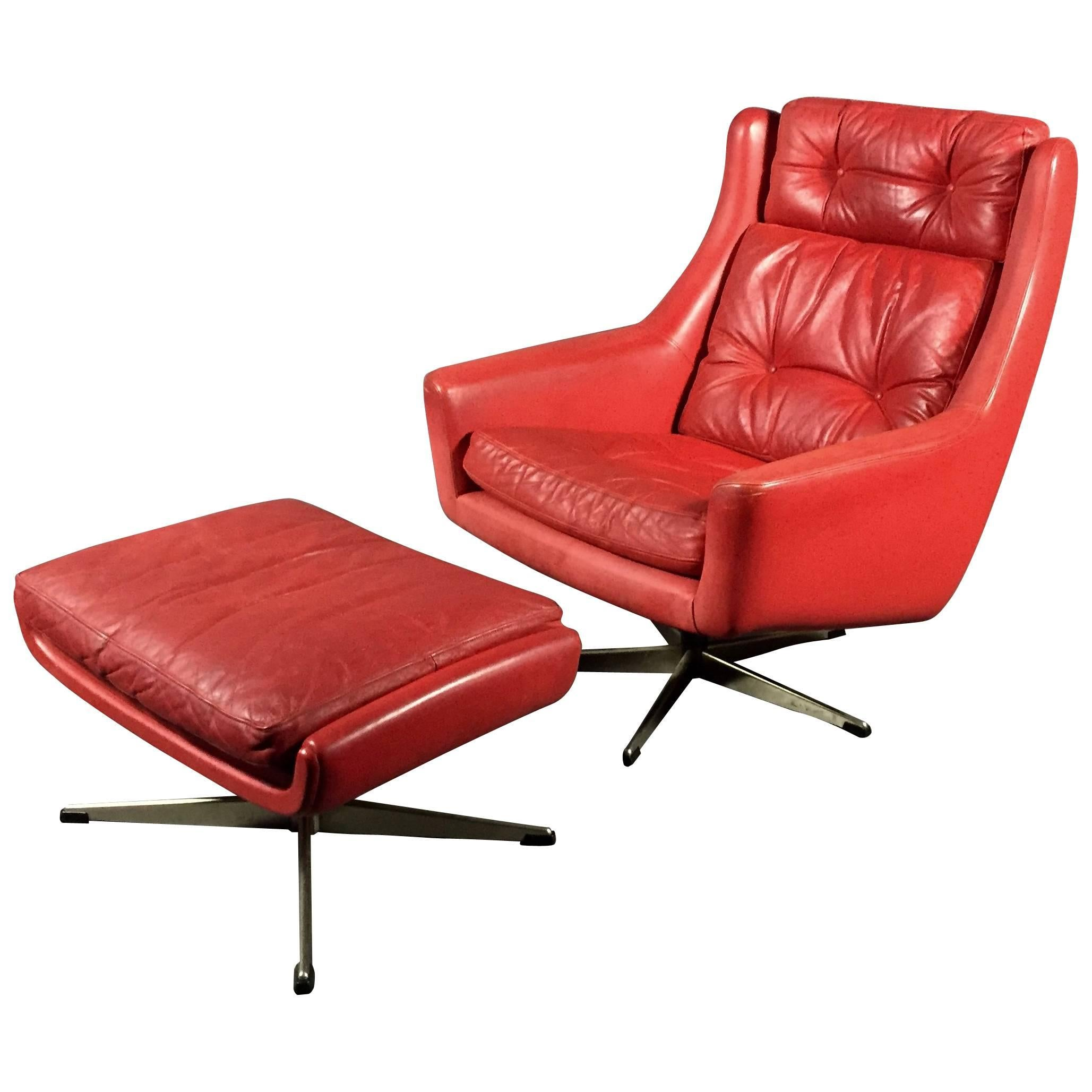 Danish Red Leather Swivel Chair And Ottoman, Circa 1970 For Sale