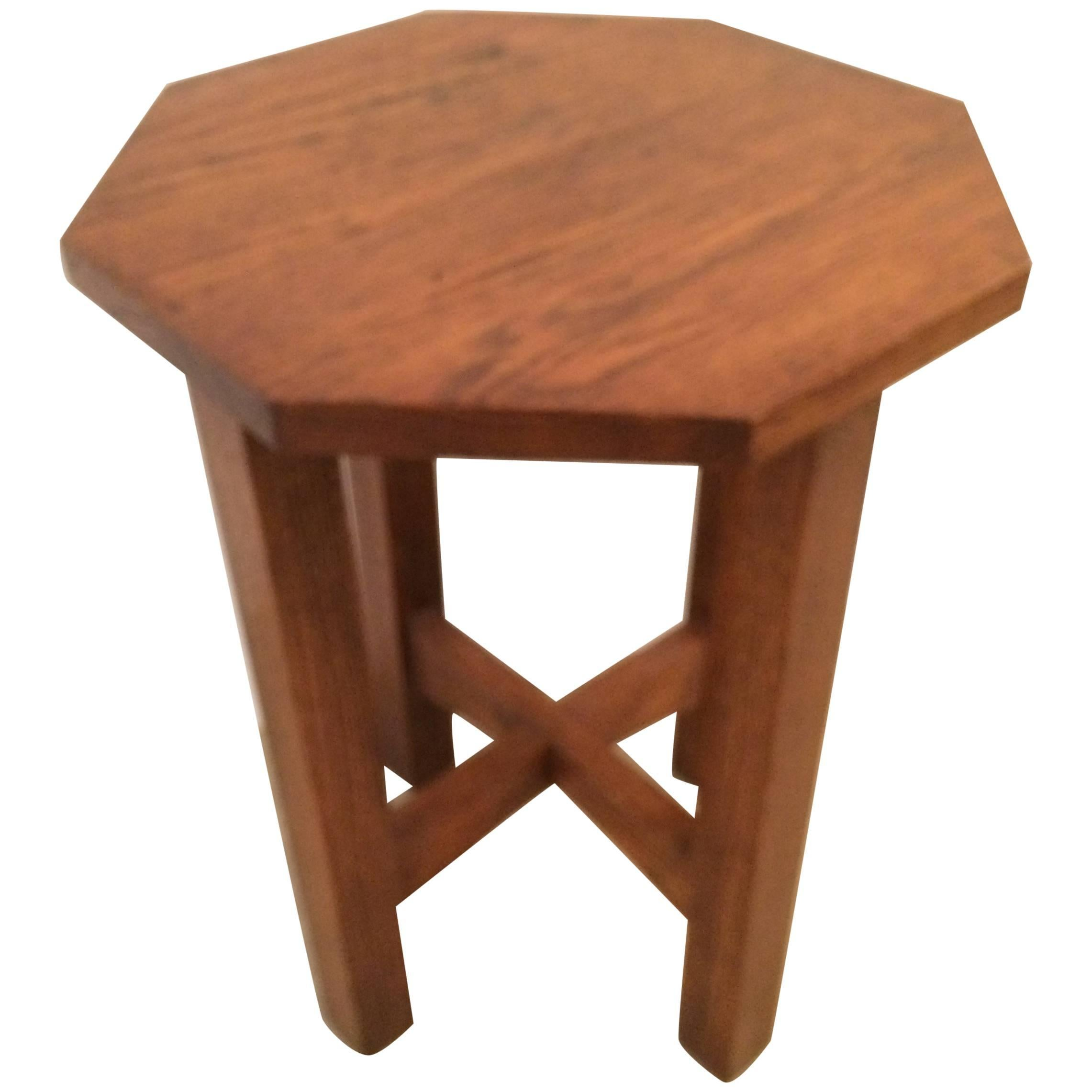 Mission Style 19Th Century Oak Octagonal Small Side Drinks Table