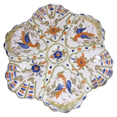 French Faience Birds Oyster Plate