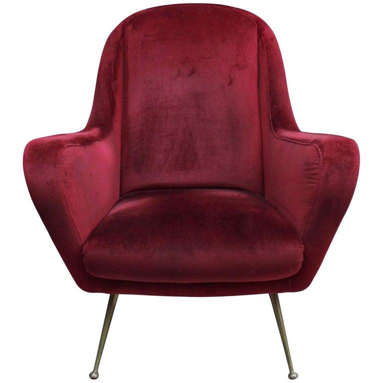 Fine Italian Red Velvet Armchair with Brass Legs, 1970s