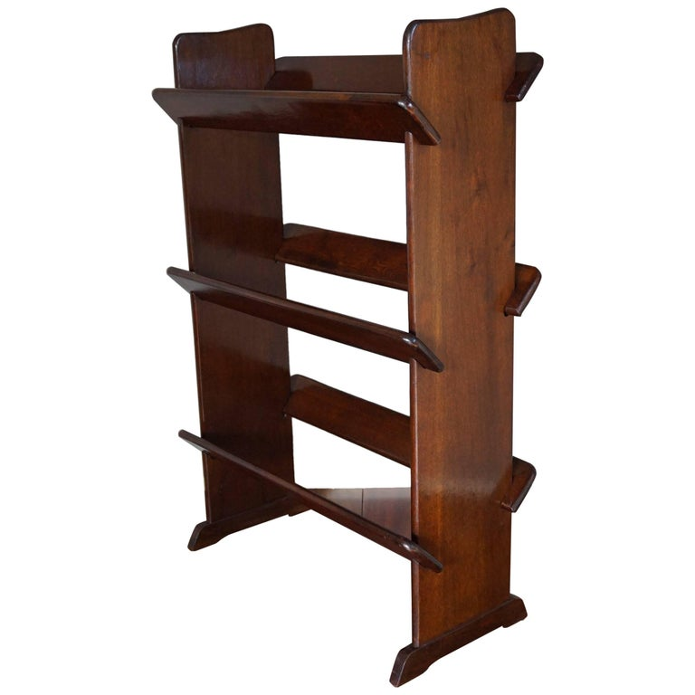 Antique and Rare Mahogany Color Three Tier Small Bookcase or Book Trough
