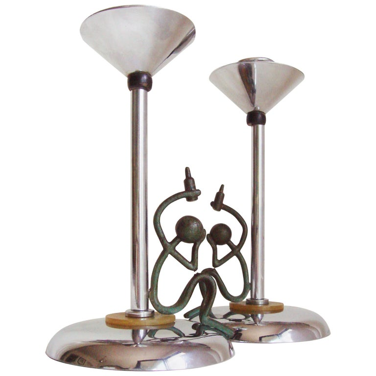 "Pair of English Chrome Art Deco ""Show Me The Way To Go Home"" Candlesticks For Sale"