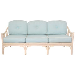 Mid-Century Bamboo and Leather Wrapped Three-Seat Sofa or Settee