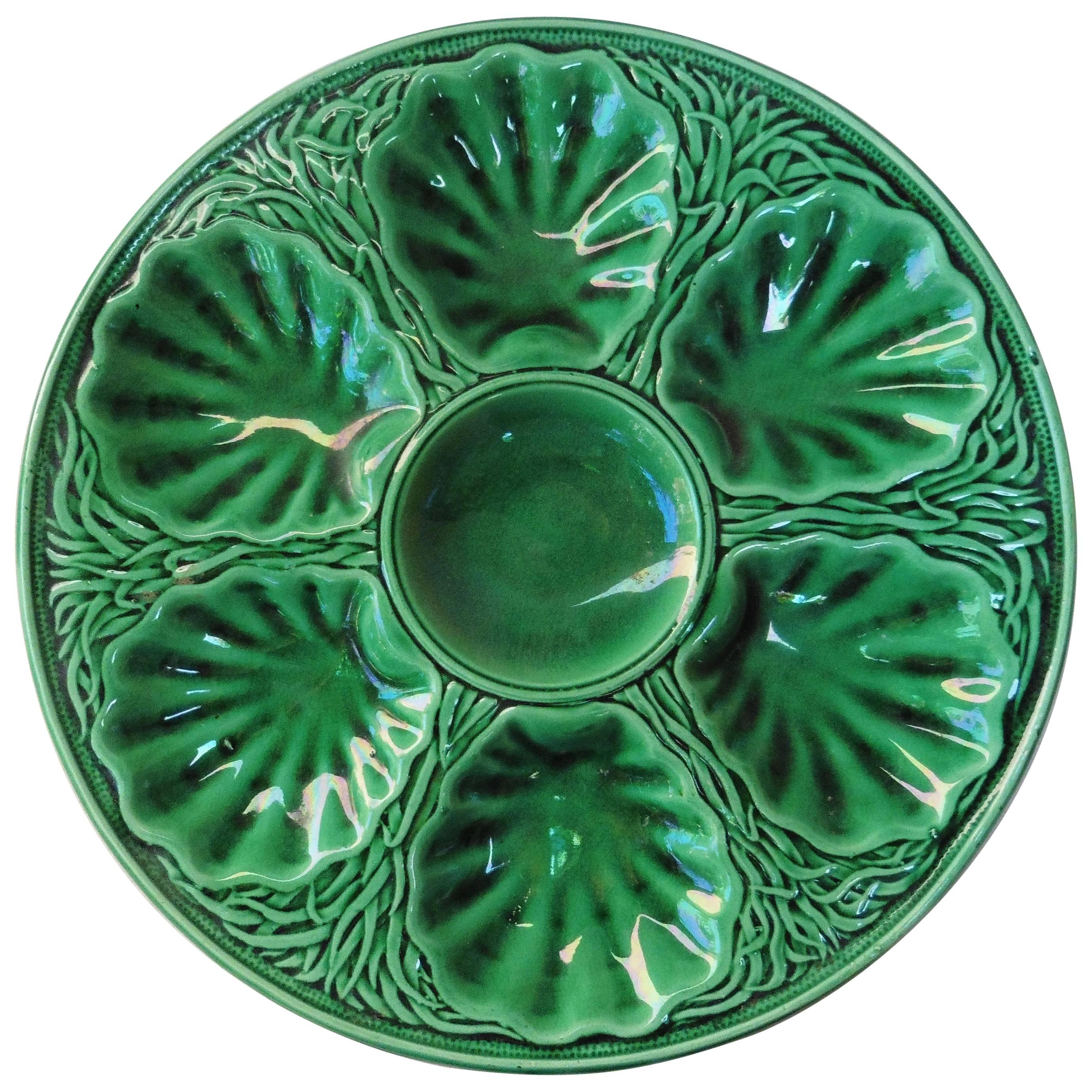 Green Majolica Oyster Plate Salins, circa 1890