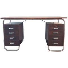 Chromed Steel and Tinted Beech Bauhaus Desk by Petr Vichr for Kovona, 1930s