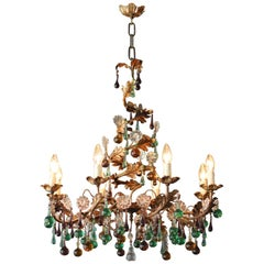 Murano Glass Chandelier Colorful Spiral Special Green Brown Lustre Ceiling Lamp