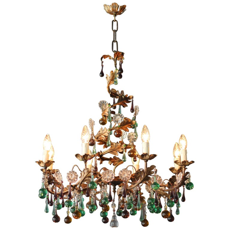 Murano Spiral Chandelier: Murano Glass Chandelier Colorful Spiral Special Green