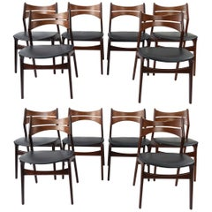 Set of '12' Model 310 Teak Dining Chairs by Erik Buck for Chr. Christiansen