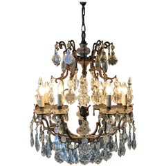 Fine Rarity Crystal Chandelier 1920 Lustre Antique Ceiling Lamp Art Nouveau WoW