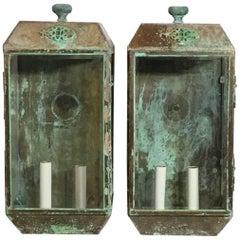 Pair of Vintage Wall Hanging Lanterns