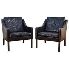 Pair of Børge Mogensen for Fredericia Model 2207 Black Leather Lounge Chairs