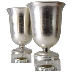 Pair of 1930s Silvered-Glass Urn Lamps by Steuben