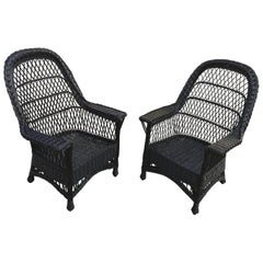 Antique Bar Harbor Willow Wicker Chairs