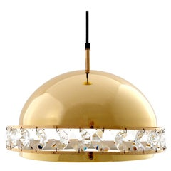 Pendant Light, Brass Cut-Glass, 1960s