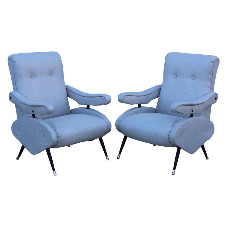 1950s, Italian Zanuso Style Reclining Lounge Chairs