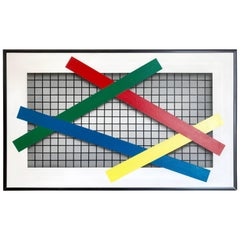"""Joseph Ramsauer Postmodern 1987 """"Primary Forms on Grid"""" Painting or Collage"""