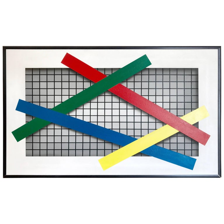 "Joseph Ramsauer Postmodern 1987 ""Primary Forms on Grid"" Painting or Collage For Sale"