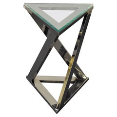 Design Institute of America Chrome and Glass Side Table