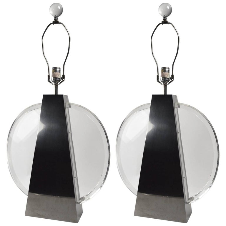 Pair of Chapman Chrome and Lucite Lamps