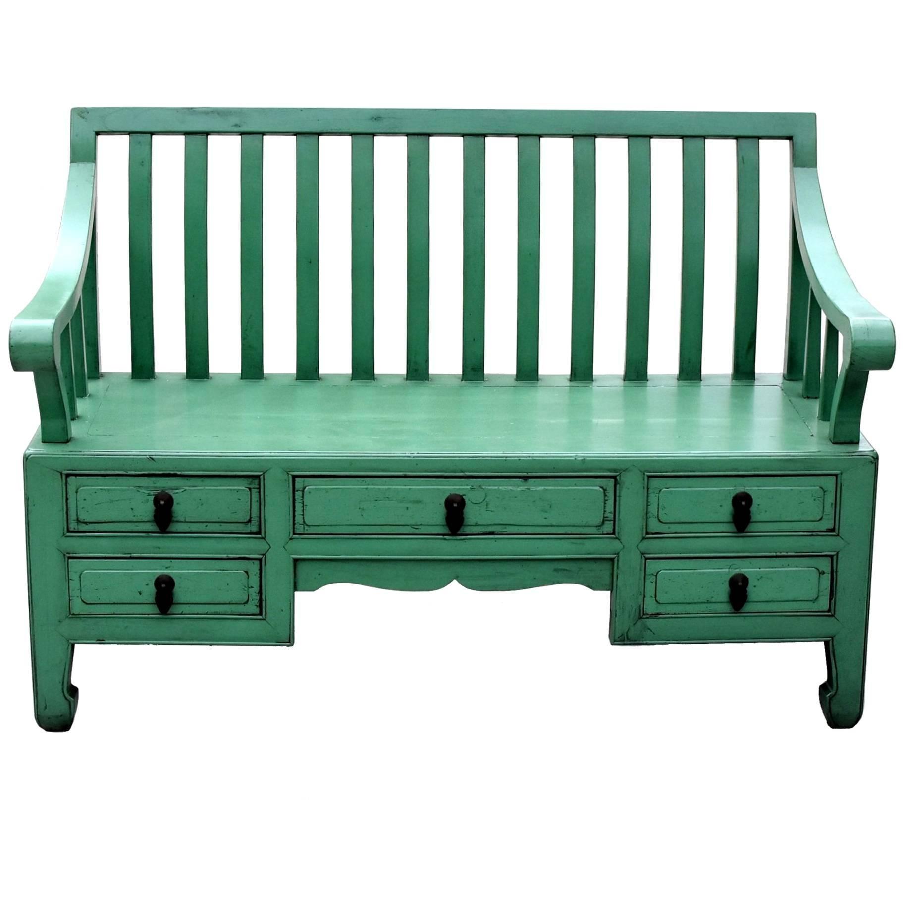 Green Asian Bench Settee
