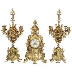 Huge Antique French Gilt Bronze Clock Set by Japy Frères