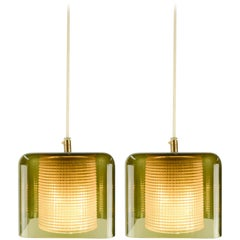 Pair of Carl Fagerlund Pendant Lights for Orrefors in Smoked Glass